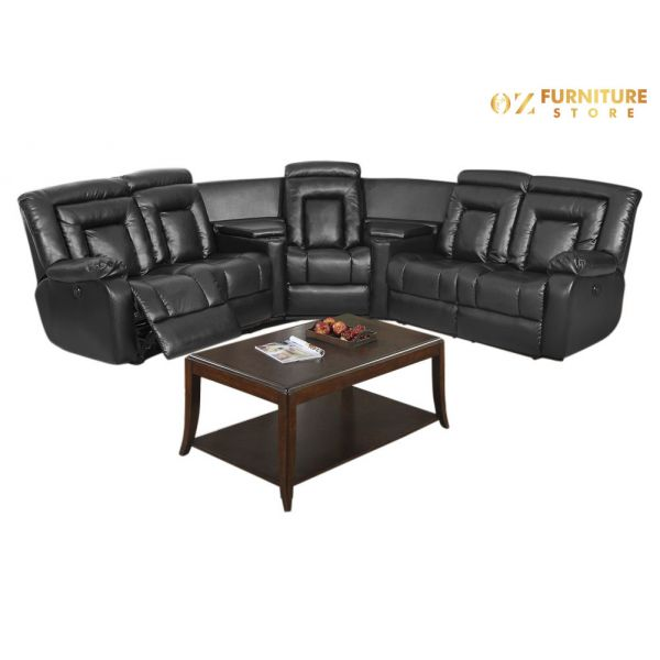 Trani Leather Electrical Recliner Lounge - Corner