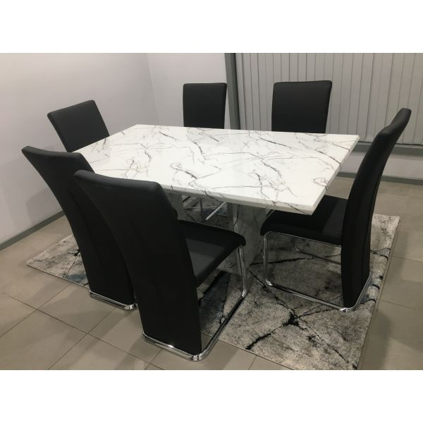 Designer Marble Mozart Dining Table 7Pcs