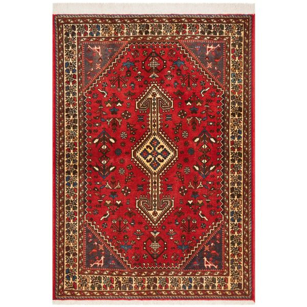 Hand Knotted Persian Abadeh Rug - Red: 147X104CM