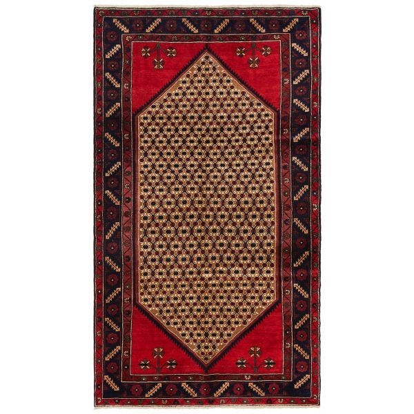 Hand Knotted Kolyaei Rug - Red & Cream: 236X133CM