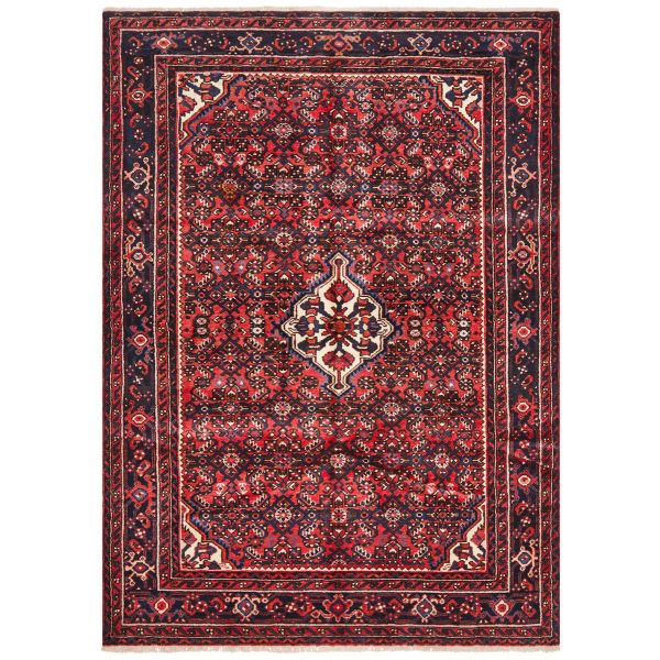 Hand Knotteed Hosseinabad Rug - Red Tone: 198X140CM