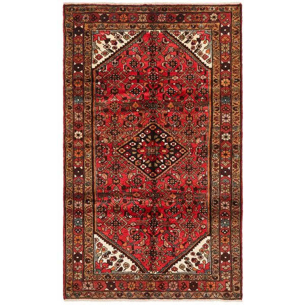 Hand Knotteed Hosseinabad Rug - Red: 216X128CM
