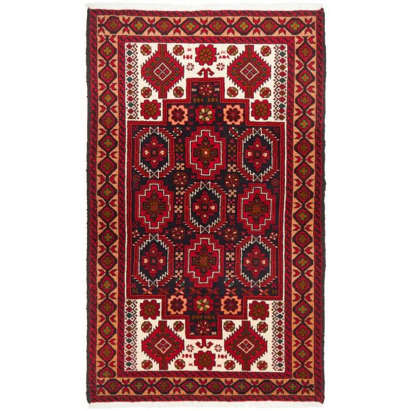 Hand Knotted Fine Quality Balouchi Rug: 190X105CM