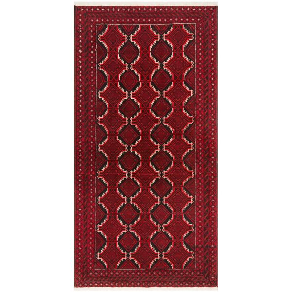Hand Knotted Fine Quality Balouchi Rug: 190X95CM