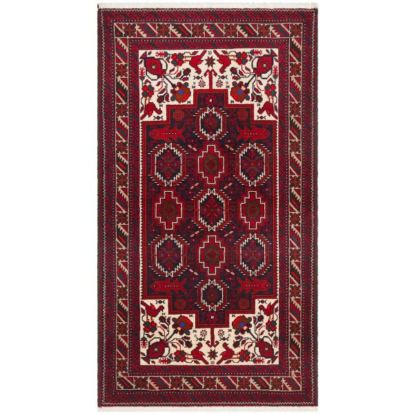 Hand Knotted Fine Quality Balouchi Rug: 196X105CM