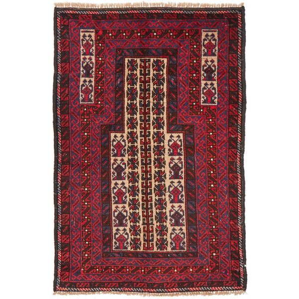 Hand Knotted Fine Quality Balouchi Rug: 138X84CM