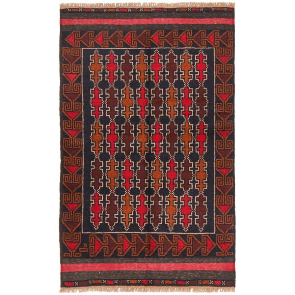 Hand Knotted Fine Quality Balouchi Rug: 112X81CM