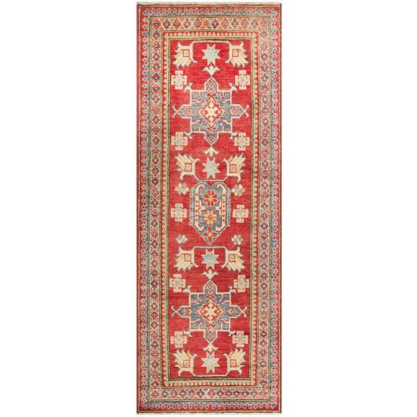 Hand Knotted Kazak Rug - Red - Yellow (195X65)