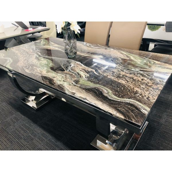 STAINLESS STEEL DINING MARBLE TABLE 7PCS
